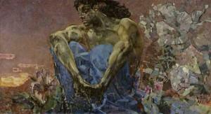 Демон сидящий — описание картины М. Врубеля