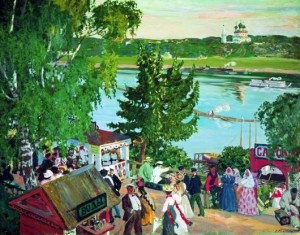 Картина Бориса Кустодиева «Гуляние на Волге»