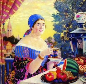 Картина Бориса Кустодиева «Купчиха за чаем»