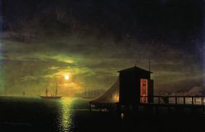 Лунная нoчь. Купaльня в Феoдосии. Описание картины Айвазовского