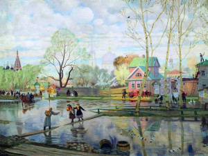 Описание картины «Весна» Б.Кустодиева