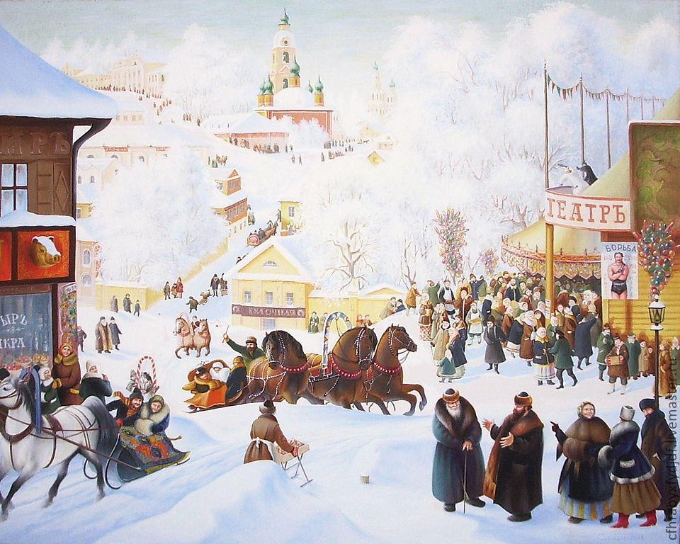 Картина Бориса Кустодиева «Масленица»