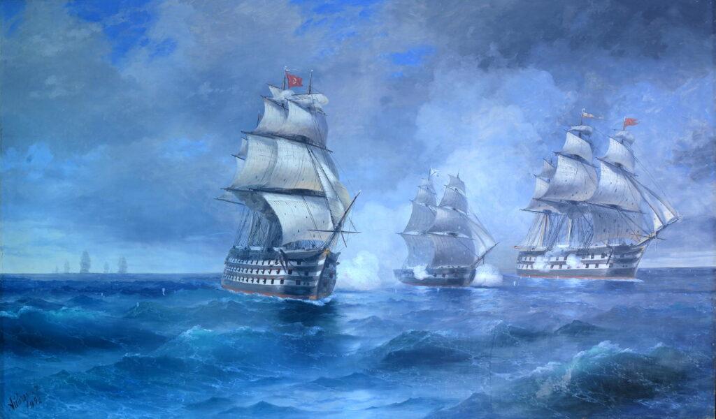 «Бриг «Меркурий», атакованный двумя турецкими судами»