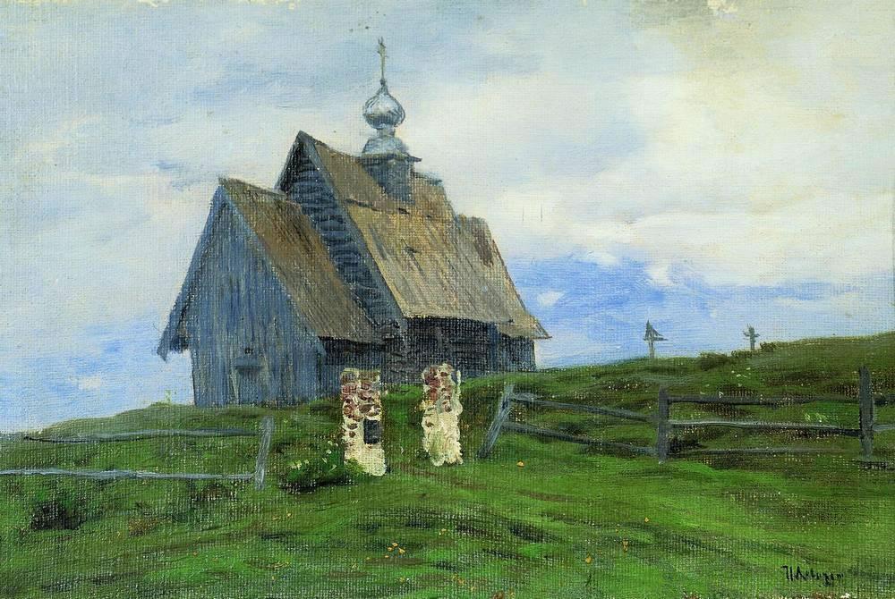 «Церковь в Плесе» - Описание картины Исаака Левитана
