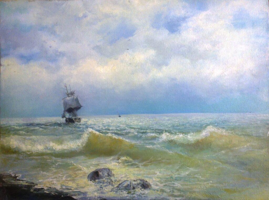 Картина И. К. Айвазовского «Корабль у берега»