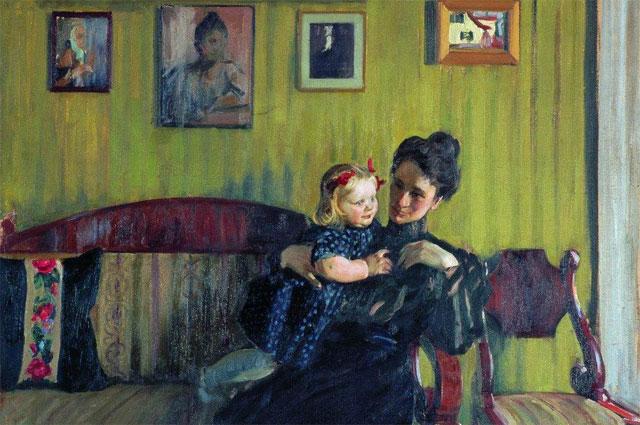 Портрет Юлии Евстафьевны Кустодиевой с дочерью Ириной