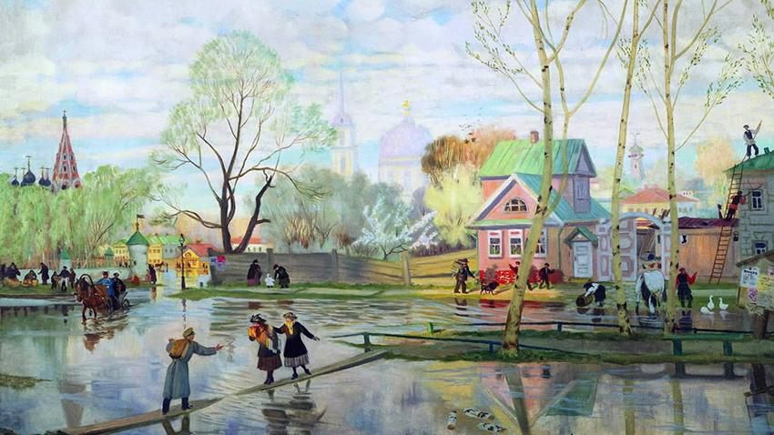 Описание картины «Весна» Б. Кустодиева