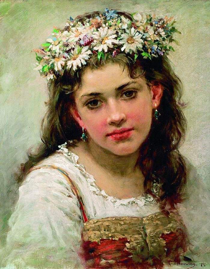 Девушка в венке. Описание картины Маковского