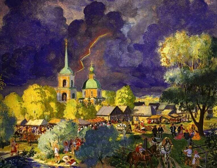 Картина «Гроза» Б. Кустодиева