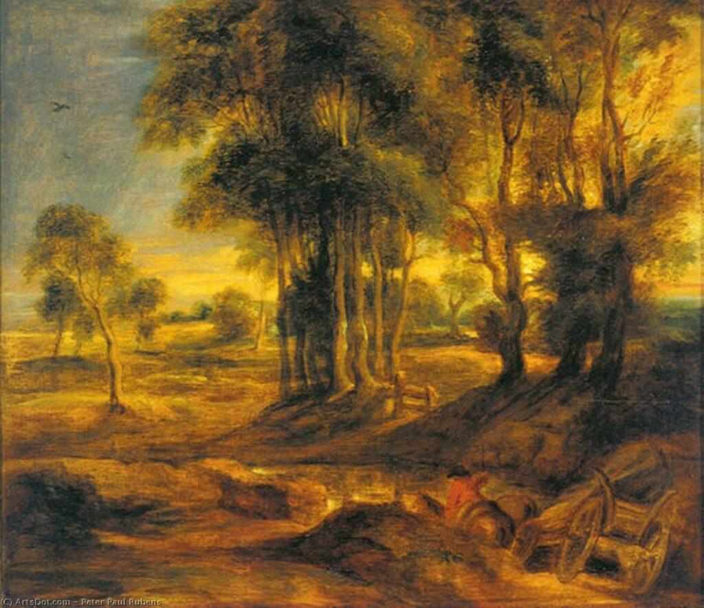 Картина вечерний пейзаж с телегой, Рубенс