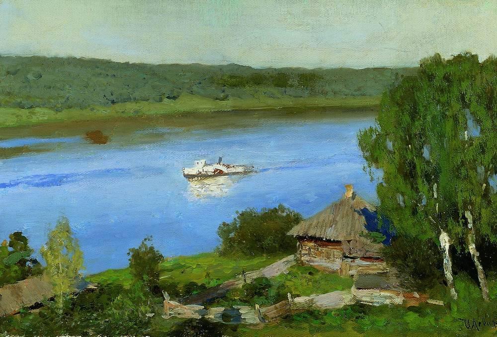 «Пейзаж с пароходом» - Описание картины Исаака Левитана