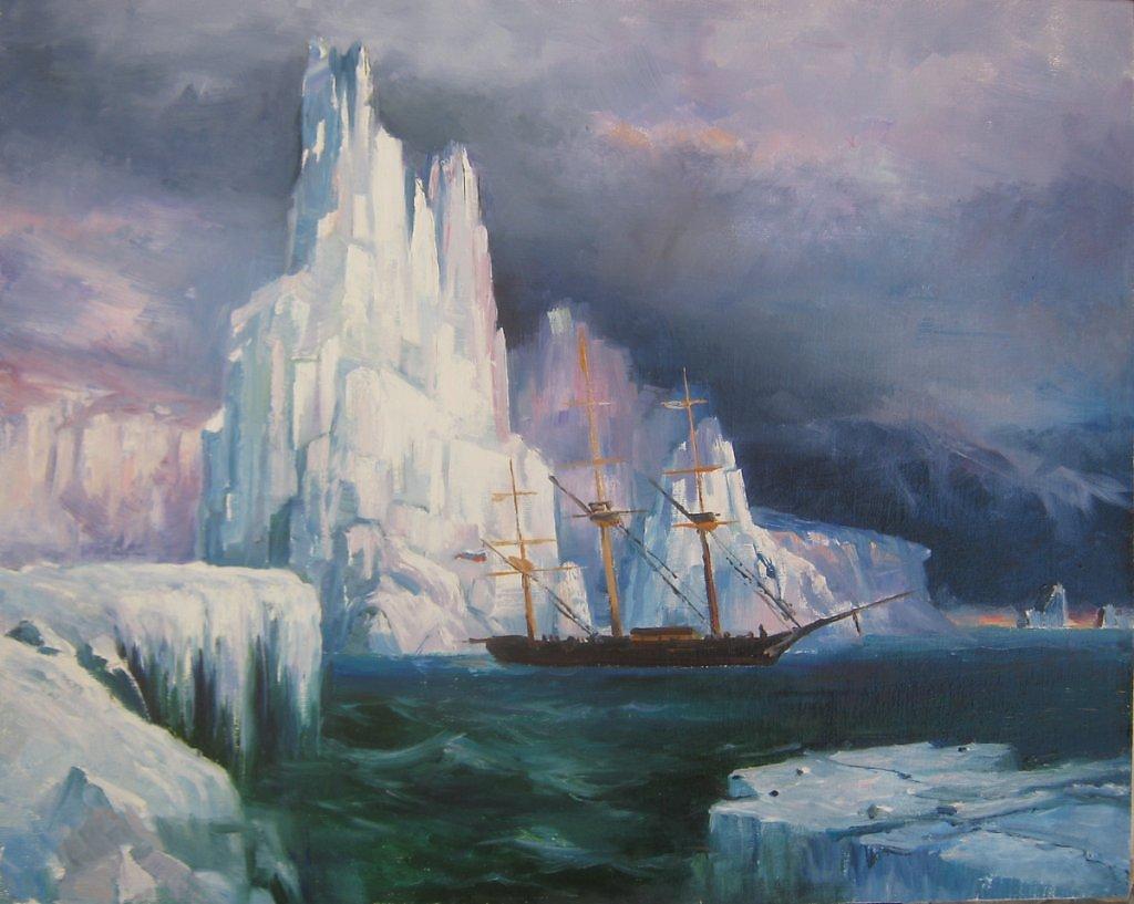 Айвазовский Иван - Ледяные горы в Антарктиде