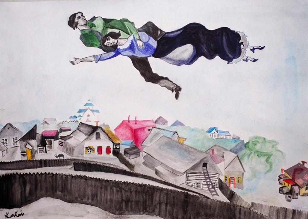Картина «Над городом» М. Шагала