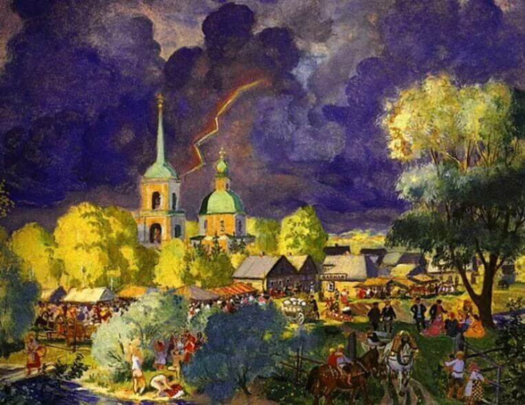 Картина Бориса Кустодиева «Гроза»