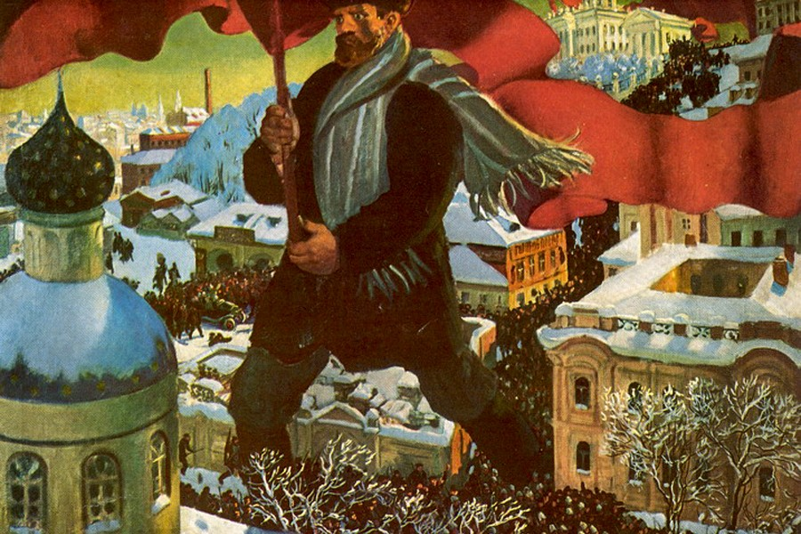 Описание картины Б. М. Кустодиева «Большевик»