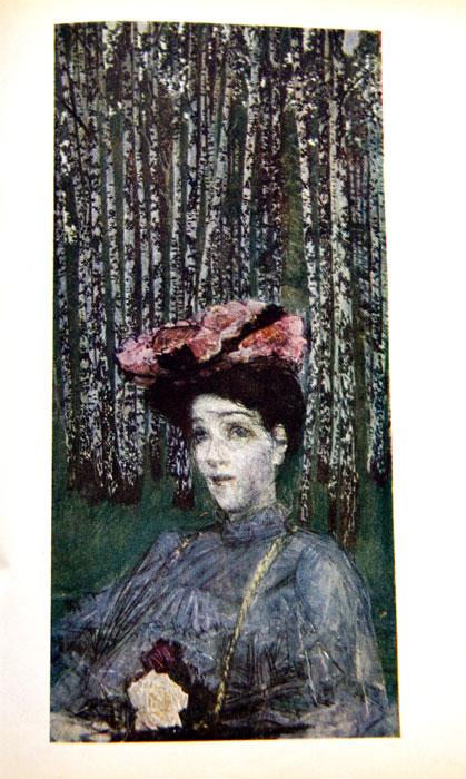 Портрет Н.И. Забелы-Врубель на фоне березок