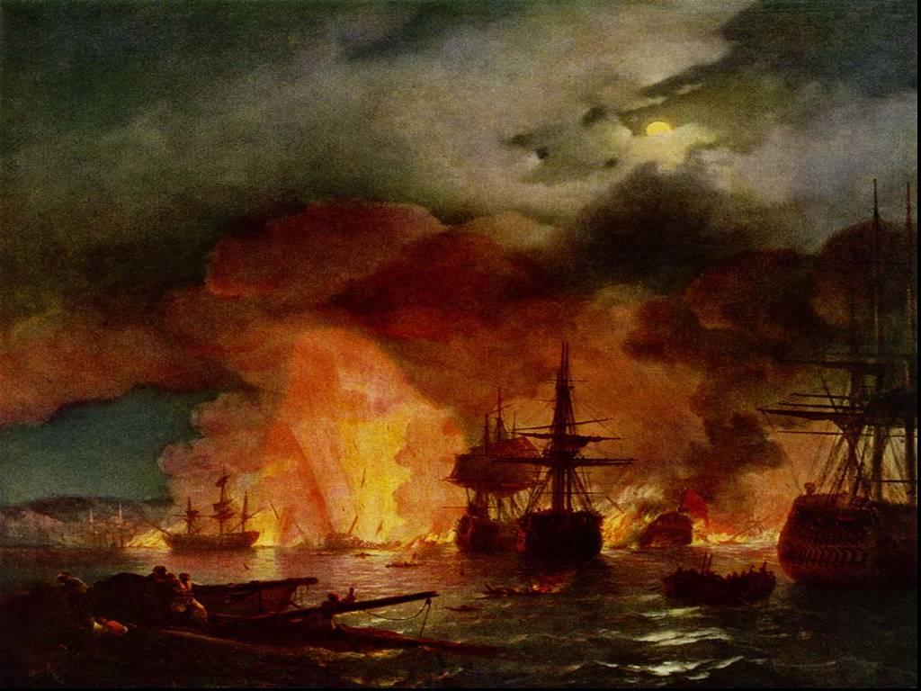 Сочинение по картине И. К. Айвазовского «Чесменский бой»