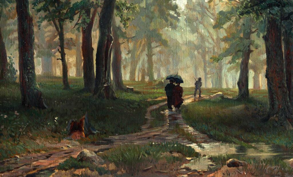 Картина Дождь в дубовом лесу Ивана Шишкина