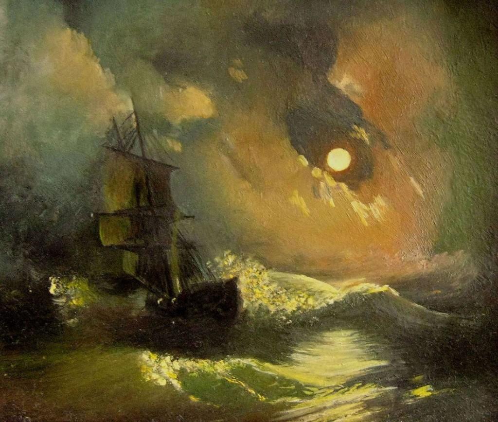 Айвазовский Иван — Буря на море ночью