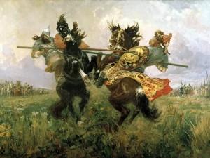 «Поединок Пересвета с Челубеем на Куликовом поле» М. Авилова