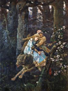 Иван царевич на сером волке. Картина Васнецова