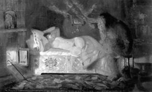 Картина Бориса Кустодиева «Купчиха и домовой»