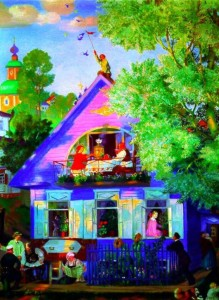 Картина Бориса Кустодиева Голубой домик
