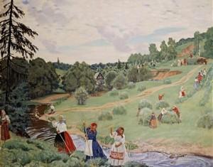 Сочинение-описание картины Кустодиева «Сенокос»