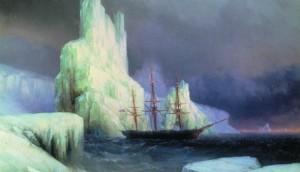 картине И.К. Айвазовского «Ледяные горы в Антарктиде»