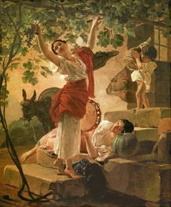 Девушка, собирающая виноград в окрестностях Неаполя