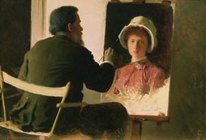 Крамской, пишущий портрет своей дочери, Софьи Ивановны Крамской, в замужестве Юнкер