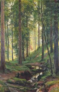 Лесной косогор. Ручей
