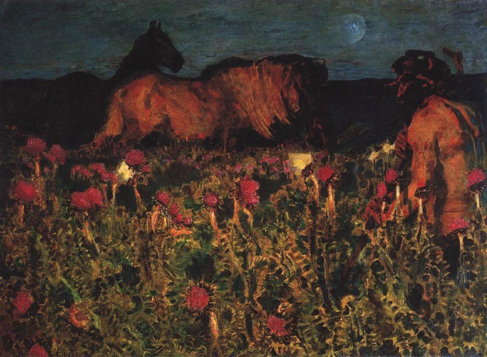 Врубель наследует из романтической традиции тему ночи