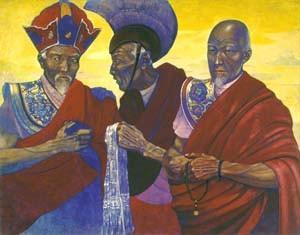 Святослав Рерих. Ламы из секты красных шапок